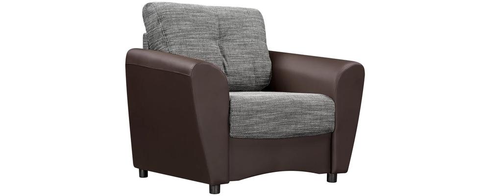 Кресло тканевое Амстердам Sola серый (Рогожка + Экокожа)