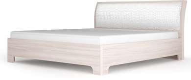 Сорренто спальня кровать-3 с ортоп. основанием  900 Ясень светлый, кожа caiman белый