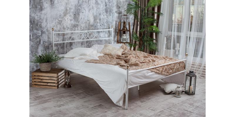 Металлическая кровать 160х200 Сандра с ортопедическим основанием (белый с золотом) S012/1-6