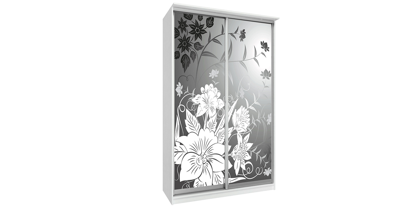 Шкаф-купе двухдверный Манчестер 150 см (белый/цветы)