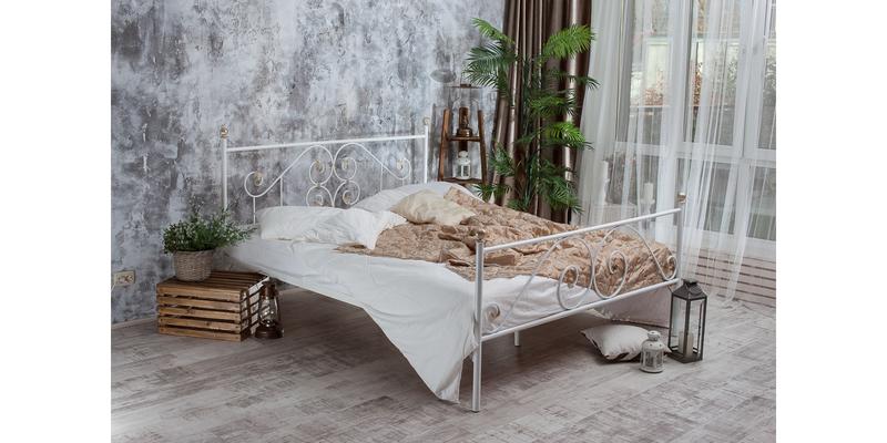 Металлическая кровать 140х200 Камелия с ортопедическим основанием (белый с золотом) S007/2-4