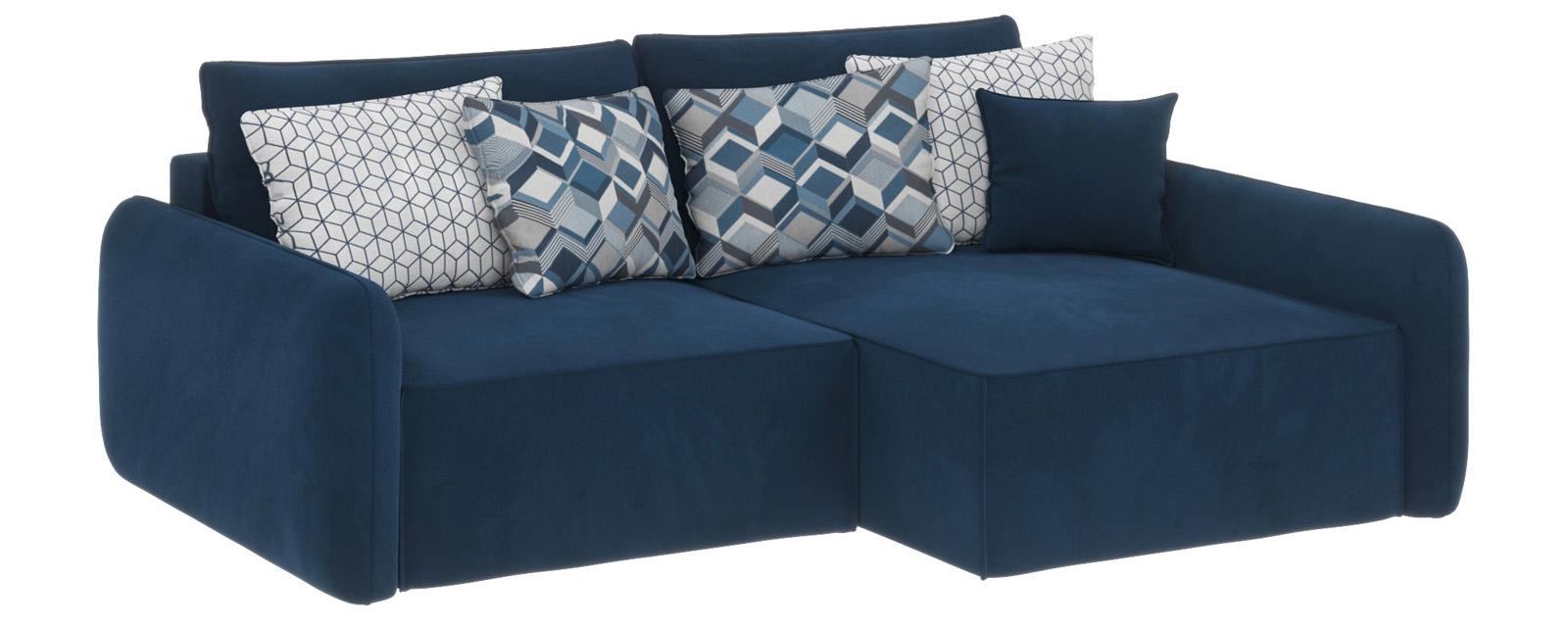 Купить Модульный диван Портленд вариант №4 Soft тёмно-синий (Вел-флок, правый), HomeMe, Тёмно-синий