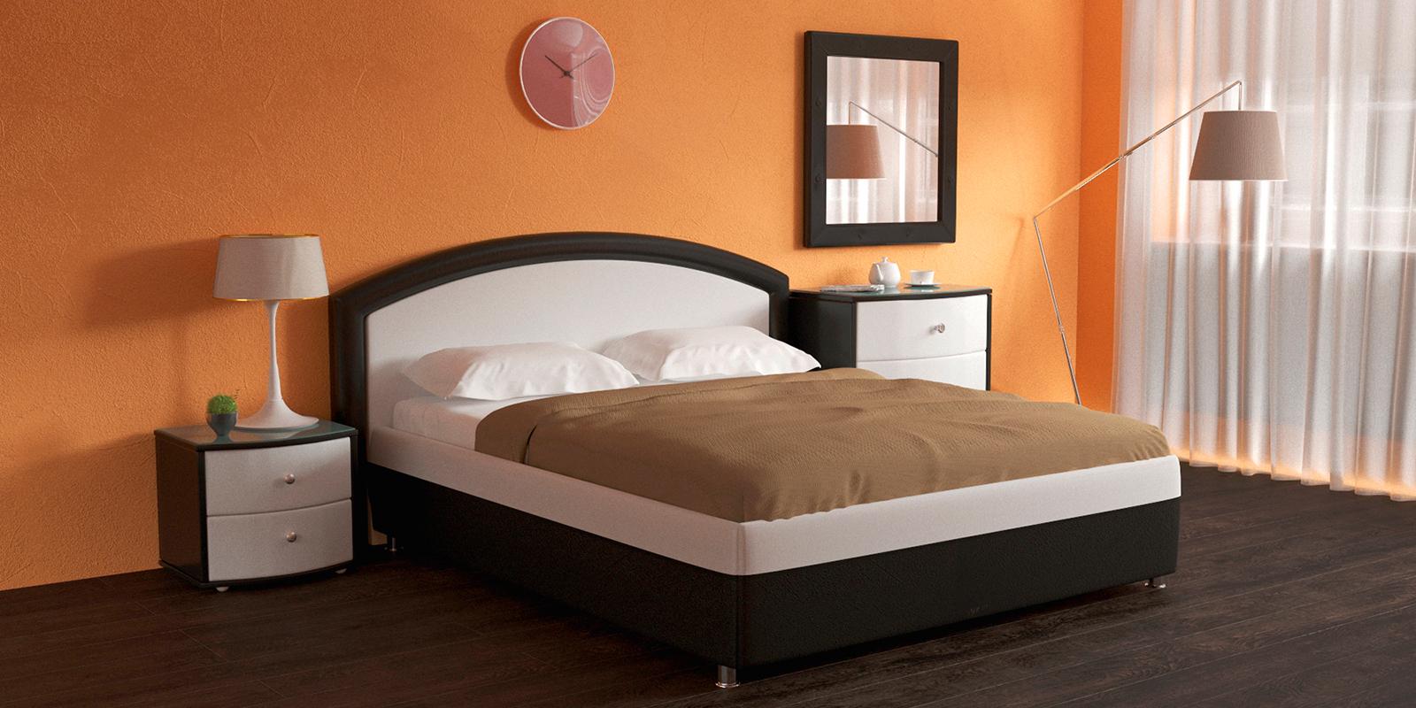 Мягкая кровать 200х160 Малибу вариант №8 с подъемным механизмом (Белый/Шоколад)