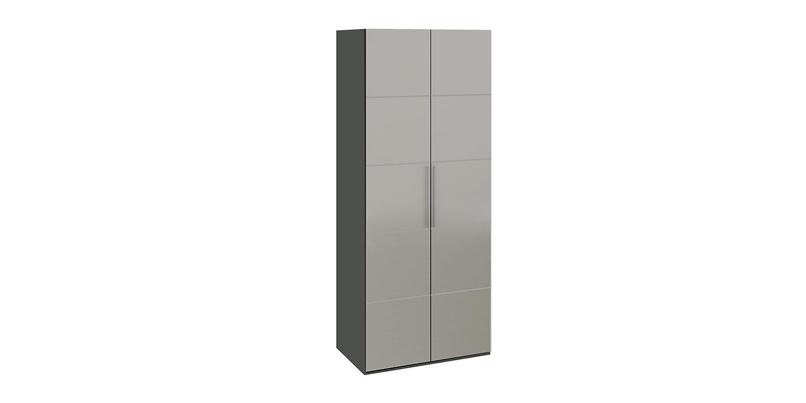 Шкаф распашной двухдверный Сорренто вариант №3 (темно-серый/зеркальный)