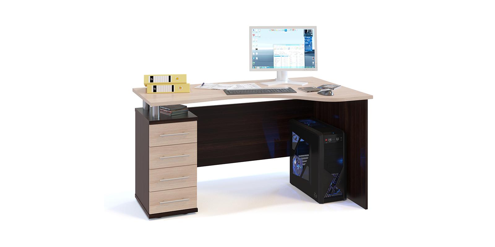 Стол компьютерный Мерида левый угол вариант №2 (венге/беленый дуб) Мерида