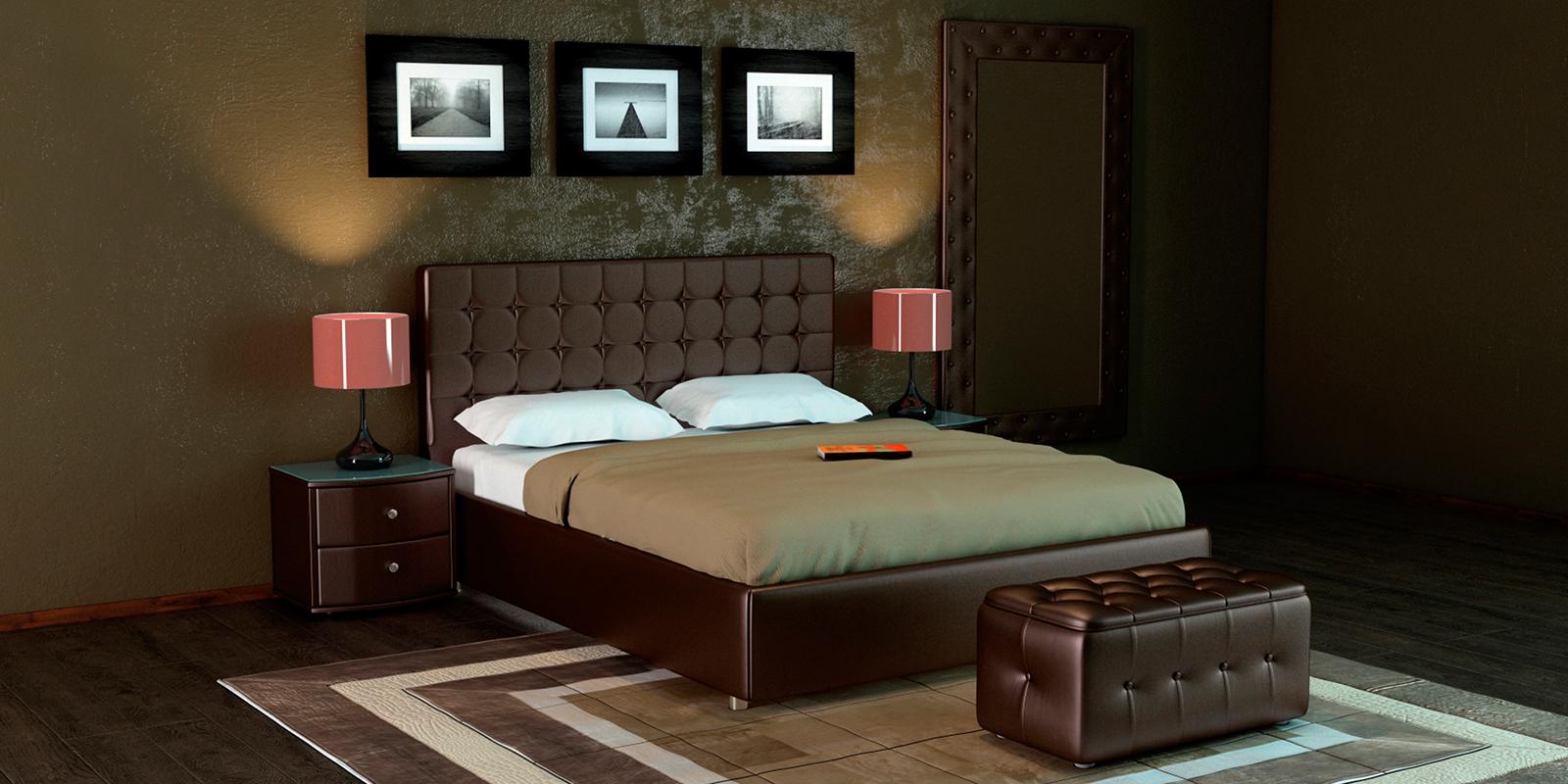 Купить Мягкая кровать 200х160 Малибу вариант №3 с ортопедическим основанием (Шоколад), HomeMe