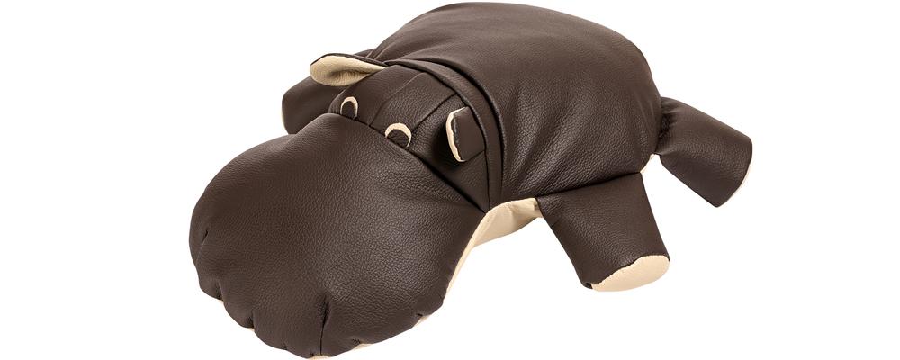 Декоративная подушка Бегемот Шоколадный (Натуральная кожа)