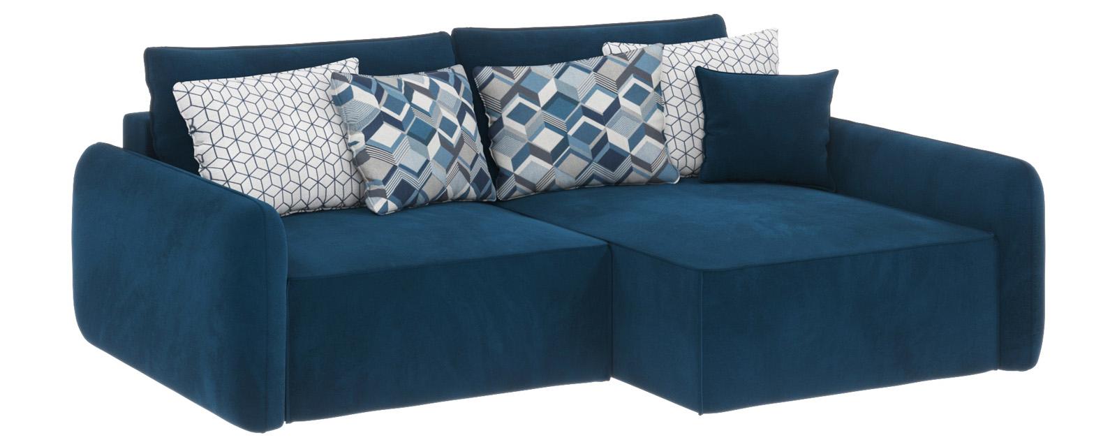 Купить Модульный диван Портленд вариант №4 Premier светло-синий (Микровелюр, правый), HomeMe, Светло-синий
