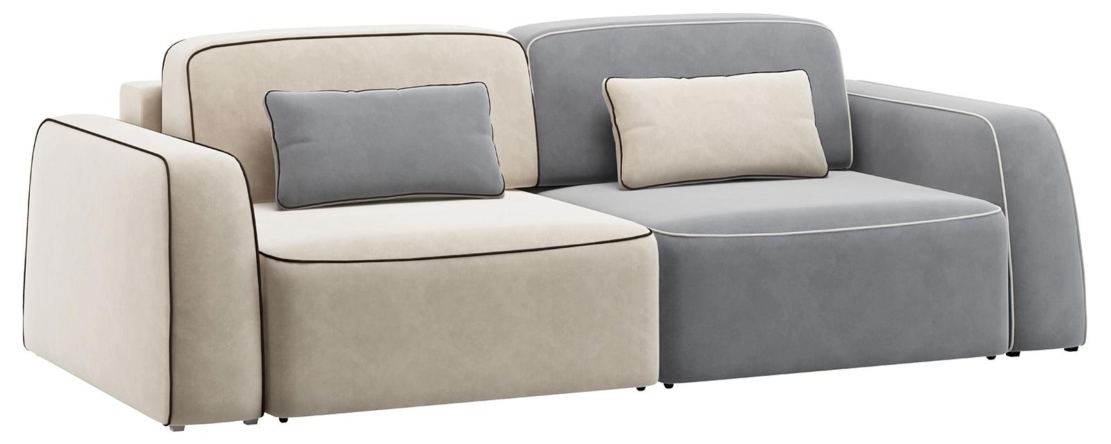 Модульный диван Портленд 200 см Вариант №1 Velutto серый/бежевый (Велюр)