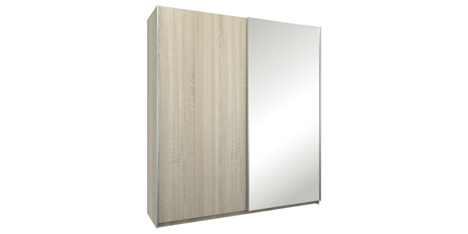 Шкаф-купе двухдверный Лофт 215 см (дуб сонома/зеркало)