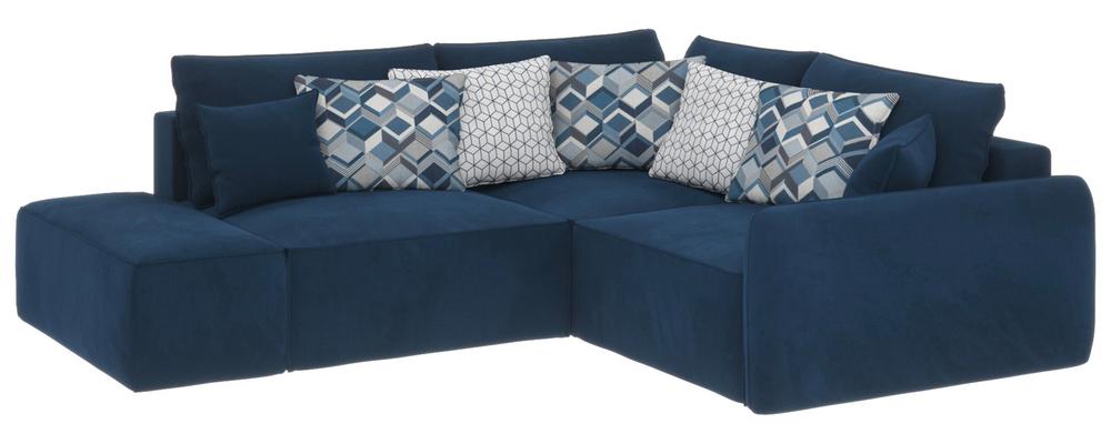 Модульный диван Портленд вариант №1 Soft тёмно-синий (Вел-флок, правый)