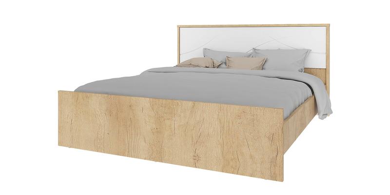 Кровать каркасная 200х160 Монтана без подъемного механизма (дуб небраска/белый глянец)