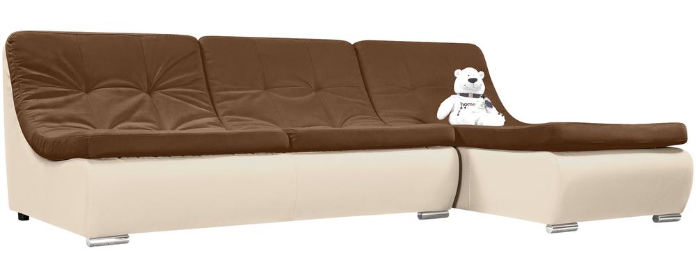 Модульный диван Лос-Анджелес Velure коричневый Вариант 1 (Велюр + Экокожа)