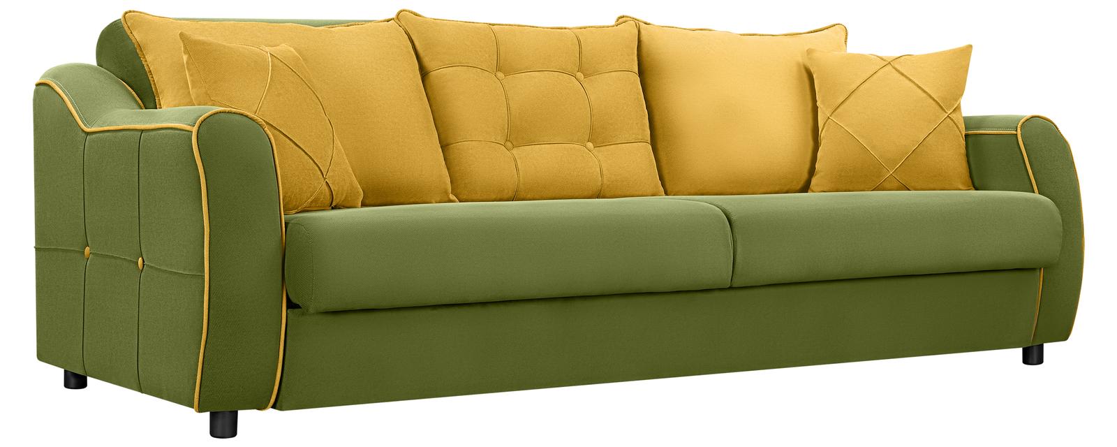 Диван тканевый прямой Флэтфорд Elegance зеленый/желтый (Микровелюр)