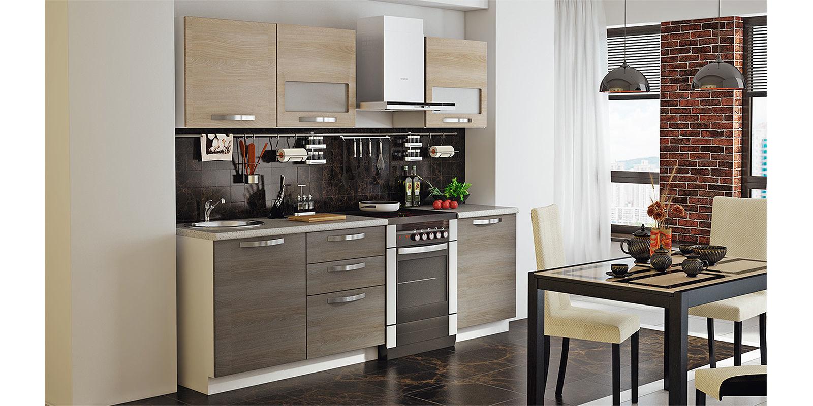 Кухонный гарнитур Миранда 240 см (белый глянец/серый)