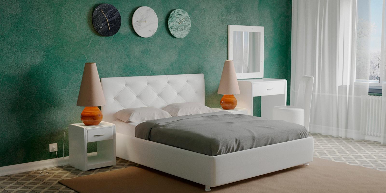 Мягкая кровать 200х160 Малибу вариант №2 с подъемным механизмом (Белый) Малибу