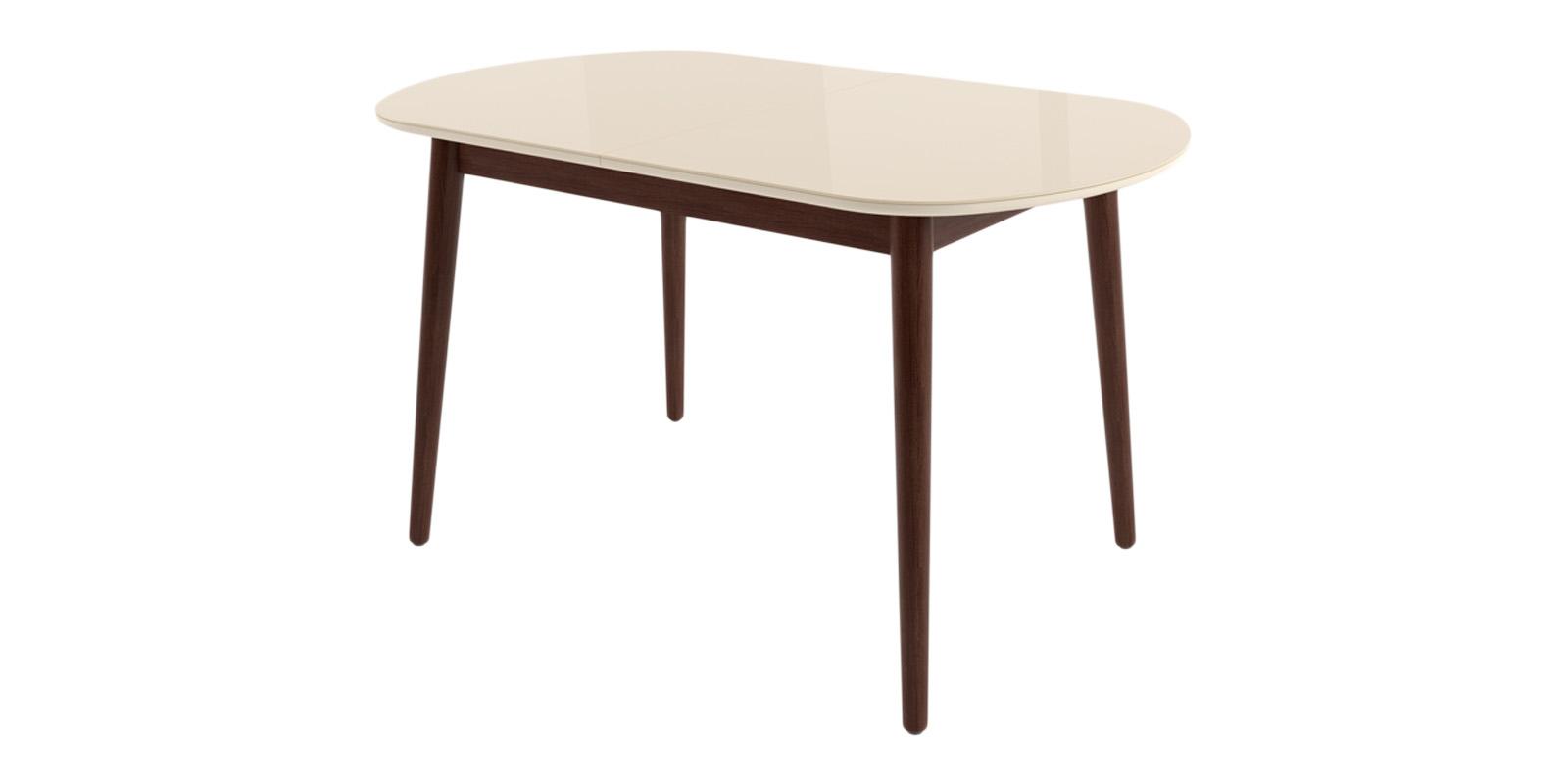 Обеденный стол Бейз (кремовый/темное дерево) 130