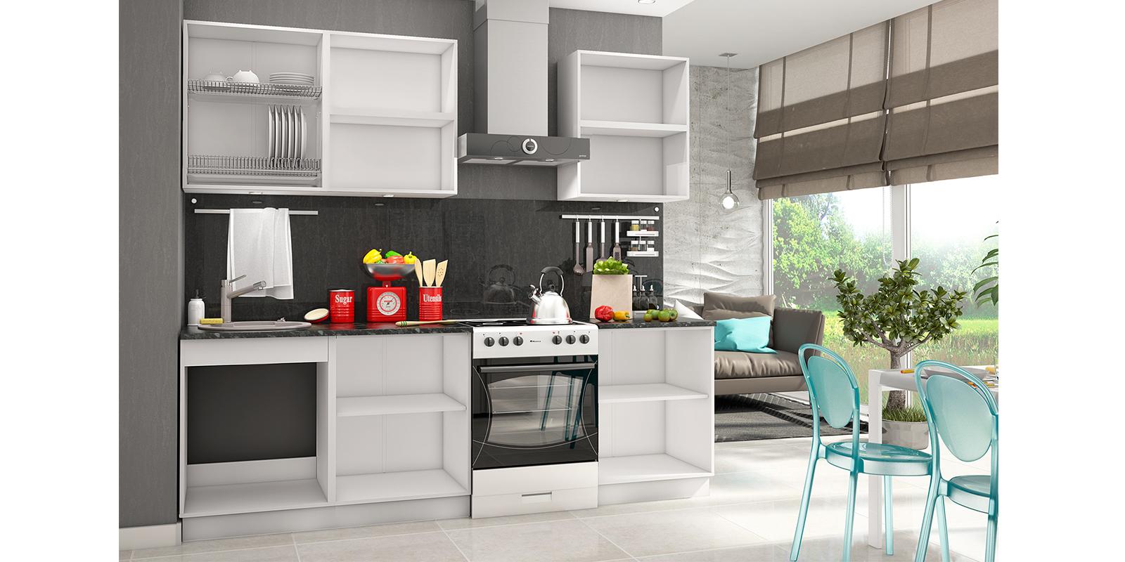 Кухонный гарнитур Чикаго 240 см (белый/азалия/антрацит) от HomeMe.ru