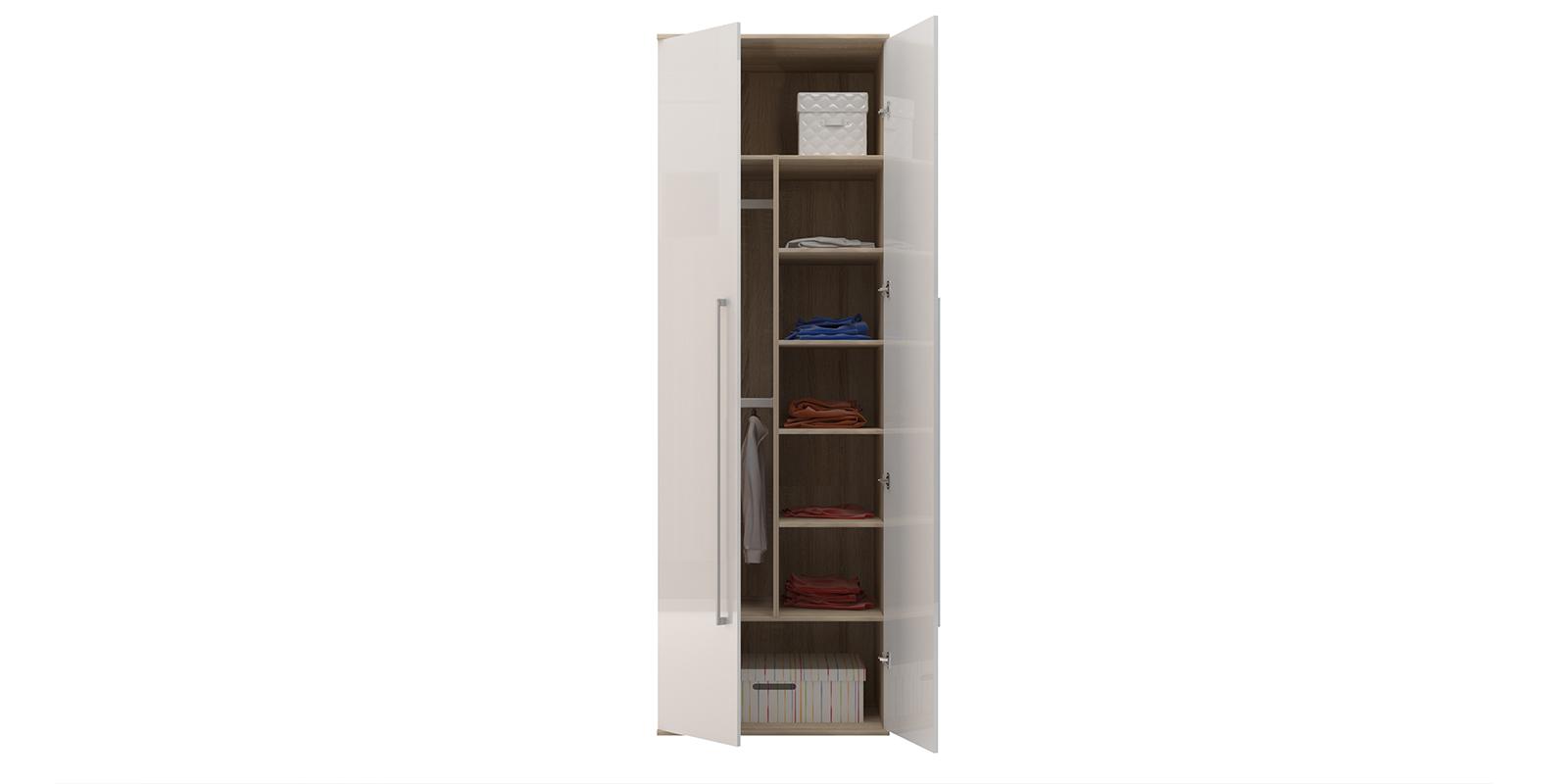 Шкаф распашной двухдверный Бали вариант №2 (белый глянец/дуб сонома) от HomeMe.ru