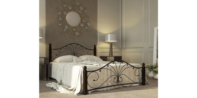 Металлическая кровать 120х200 Фортуна вариант №1 с ортопедическим основанием (черный/шоколад)
