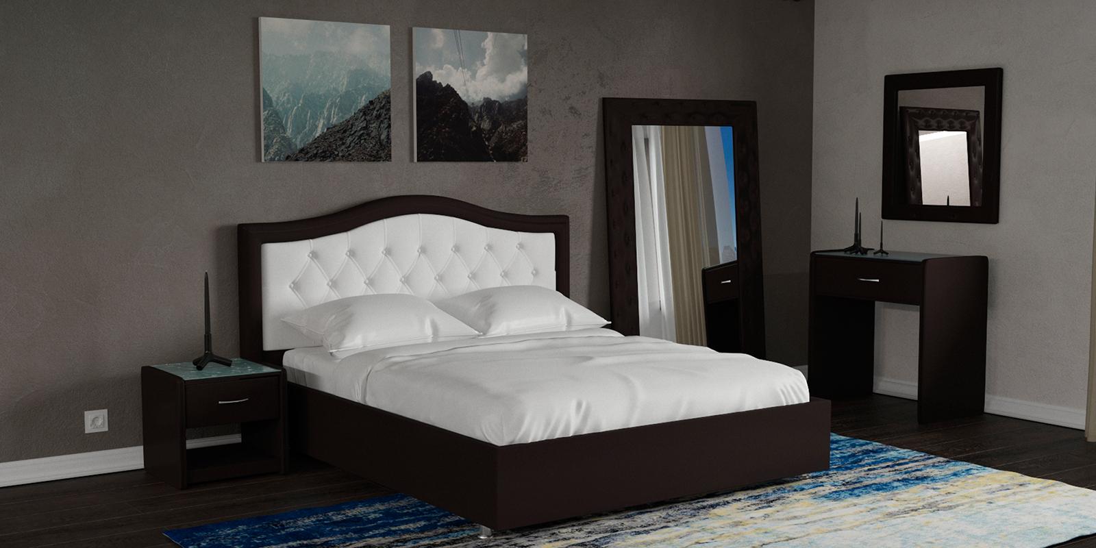 Мягкая кровать 200х160 Малибу вариант №9 с ортопедическим основанием (Белый/Шоколад)