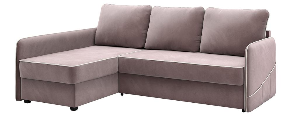 Диван тканевый угловой Слим Avatar светло-розовый (Велюр, левый)