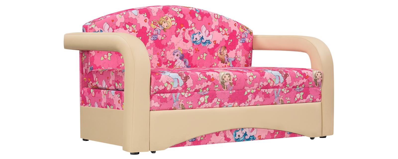Диван тканевый прямой Эдем Pony розовый (Микровелюр + Экокожа)