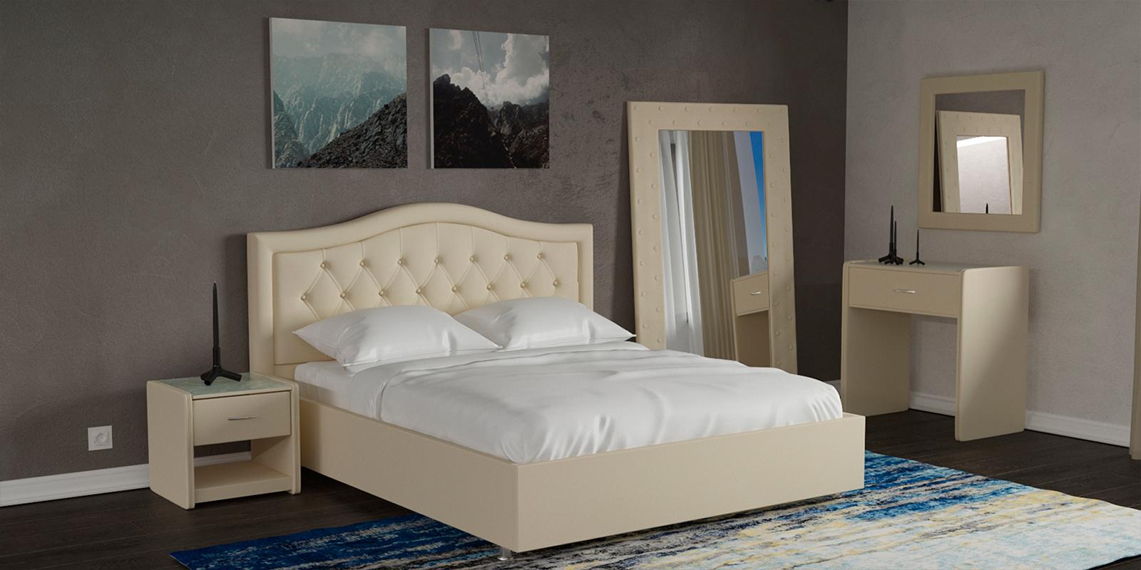 Мягкая кровать 200х160 Малибу вариант №9 с подъемным механизмом (Бежевый)