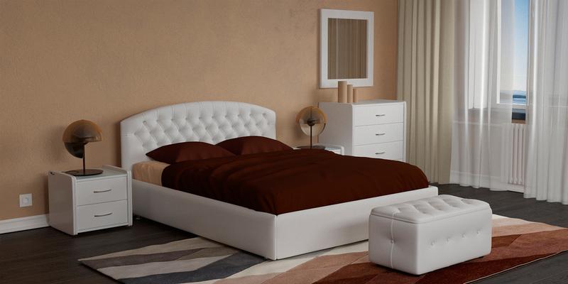 Мягкая кровать 200х160 Малибу вариант №1 с ортопедическим основанием (Белый)