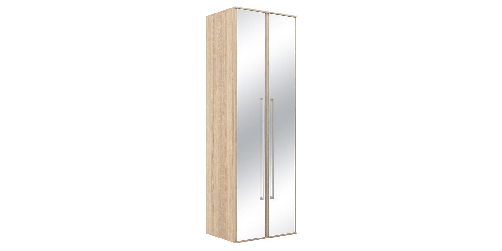 Шкаф распашной двухдверный Бали вариант №1 (дуб сонома/зеркальный)