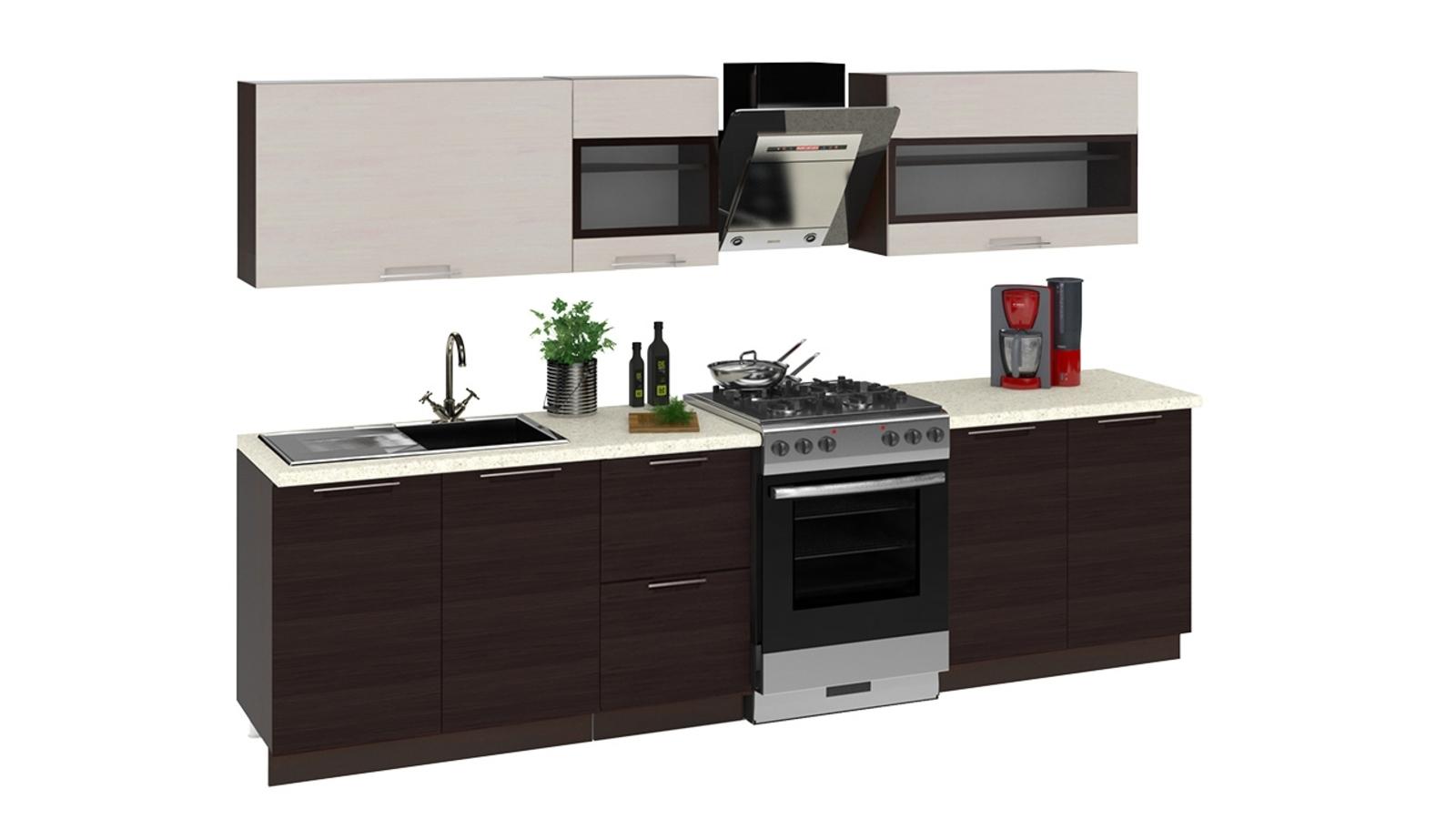 Кухонный гарнитур Мелани 300 см (коричневый)