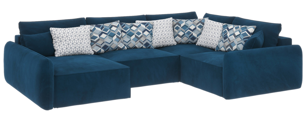 Модульный диван Портленд вариант №8 Premier светло-синий (Микровелюр, правый)