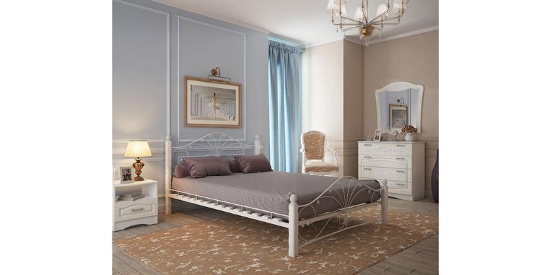 Металлическая кровать 160х200 Фортуна вариант №1 с ортопедическим основанием (белый/белый)