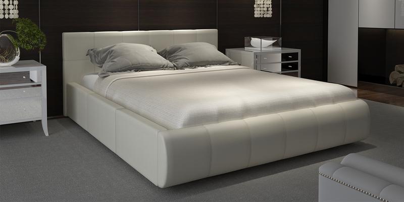 Мягкая кровать 200х140 Афина с подъемным механизмом (Luxe молочный)